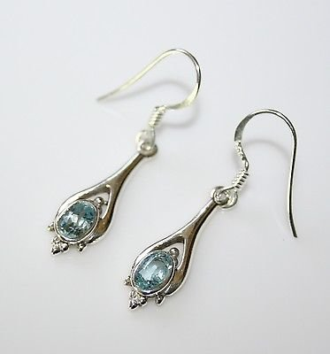 HANDCRAFTED STERLING SILVER FACETED BLUE TOPAZ GEMSTONE SMALL DROP EARRINGS