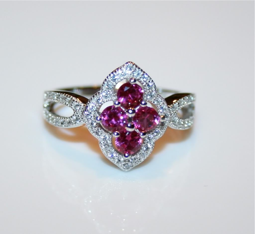 STERLING SILVER RUBY CZ CLUSTER RING