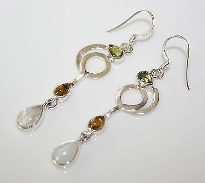 HANDCRAFTED ART DECO STYLE STERLING SILVER MOONSTONE, CITRINE & PERIDOT EARRINGS