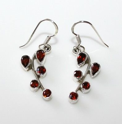 HANDCRAFTED STERLING SILVER  GARNET GEMSTONE DROP EARRINGS