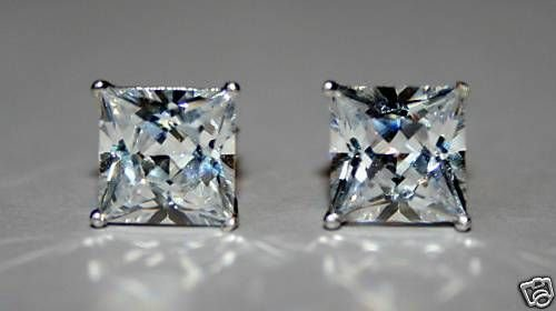 4MM 0.30CT STERLING SILVER SQUARE CZ SOLITAIRE EARRINGS