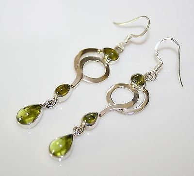 HANDCRAFTED ART DECO STYLE STERLING SILVER AND CABOCHON PERIDOT DROP EARRINGS