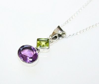 HANDCRAFTED STERLING SILVER FACETED AMETHYST & PERIDOT GEMSTONE PENDANT & CHAIN
