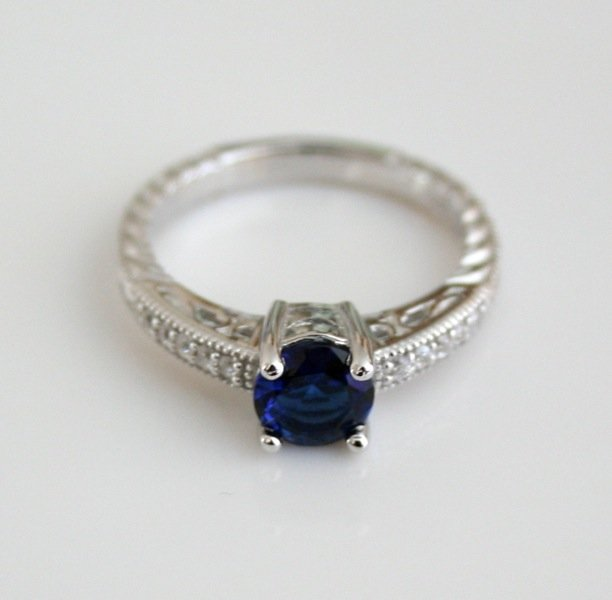 STERLING SILVER 6MM 0.75CT SAPPHIRE CZ MICRO SET SOLITAIRE FILLIGREE RING SIZE P