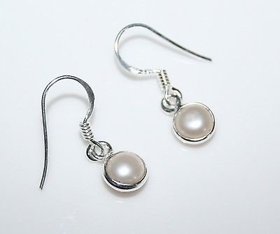 HANDCRAFTED STERLING SILVER 7MM FRESHWATER PEARL SMALL ROUND DROP EARRINGS