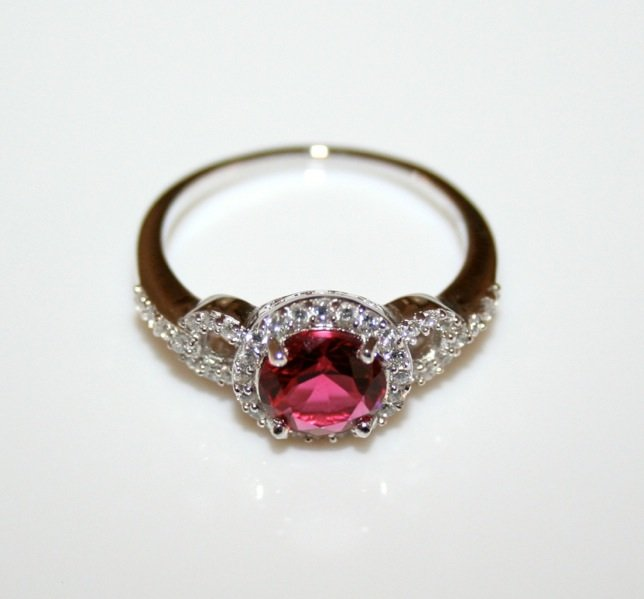 STERLING SILVER 7MM 1.25CT RUBY CZ SOLITAIRE FILLIGREE RING