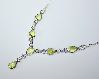 HANDCRAFTED STERLING SILVER CABOCHON PERIDOT DROP NECKLACE