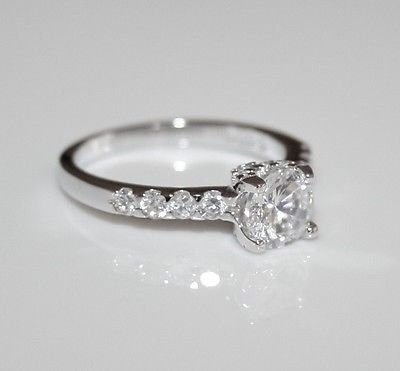 STERLING SILVER 6.6MM 1CT CZ SOLITAIRE RING SIZE R *IMPERFECT*