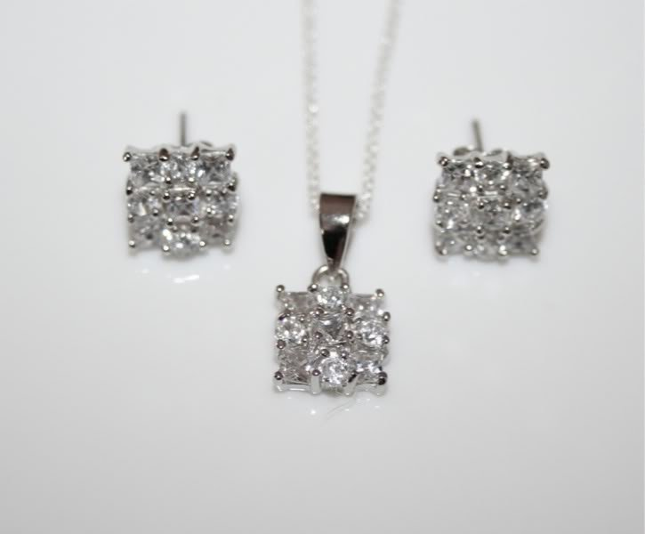 STERLING SILVER PRINCESS CUT & ROUND CUT CZ PENDANT AND EARRING SET