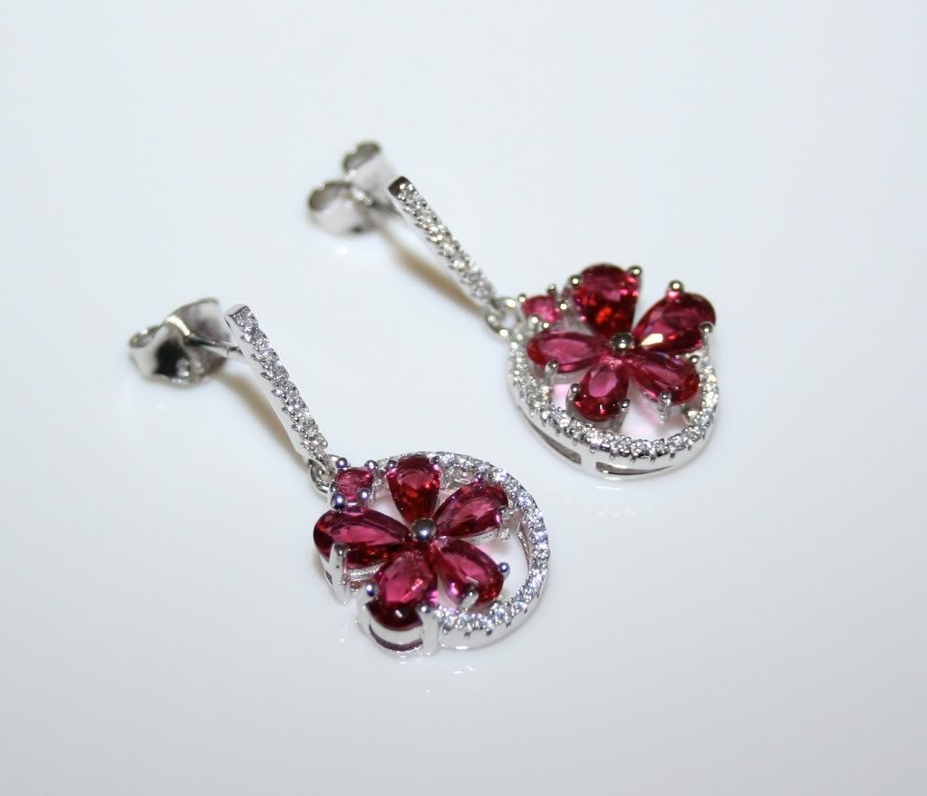 STERLING SILVER PEAR CUT FACETED RHODOLITE CZ FLOWER CLUSTER DROP EARRINGS