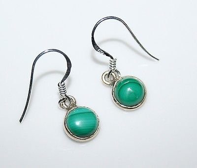 HANDCRAFTED STERLING SILVER 7MM MALACHITE SMALL ROUND DROP EARRINGS