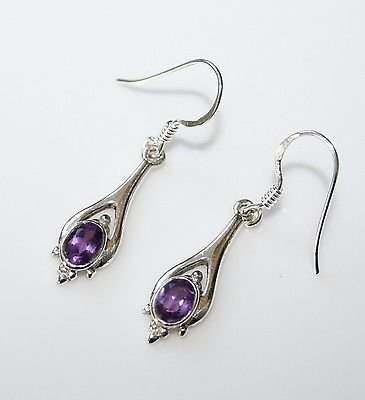 HANDCRAFTED STERLING SILVER FACETED AMETHYST GEMSTONE SMALL DROP EARRINGS