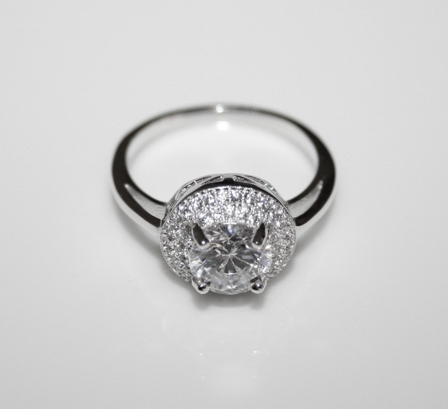 GORGEOUS STERLING SILVER 7MM 1.25CT CZ PAVE SOLITAIRE RING