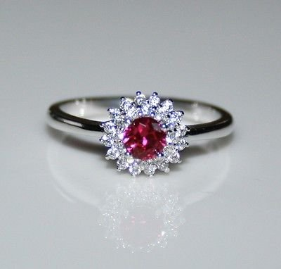 STERLING SILVER 4MM 0.25CT RUBY CZ SOLITAIRE RING SIZE O US 7