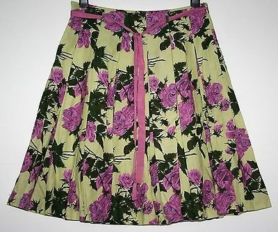 *PHASE 8* PRETTY FLORAL LINEN MIX INVERTED PLEAT SKIRT SIZE 12