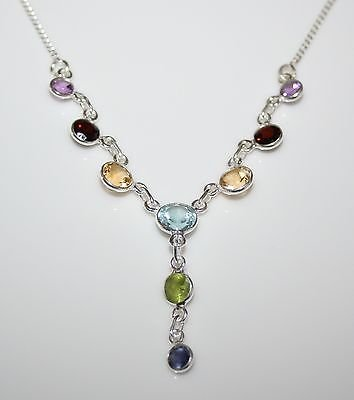 HANDCRAFTED STERLING SILVER MULTI COLOURED GEMSTONE NECKLACE