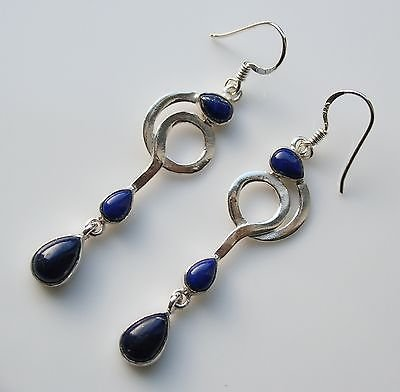 HANDCRAFTED ART DECO STYLE STERLING SILVER AND CABOCHON LAPIS DROP EARRINGS