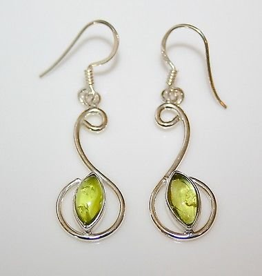 HANDCRAFTED PRETTY STERLING SILVER PERIDOT DROP EARRINGS