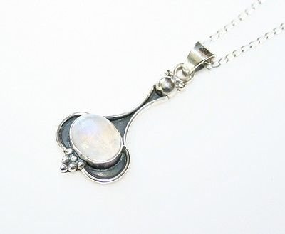 HANDCRAFTED STERLING SILVER MOONSTONE PENDANT & CHAIN