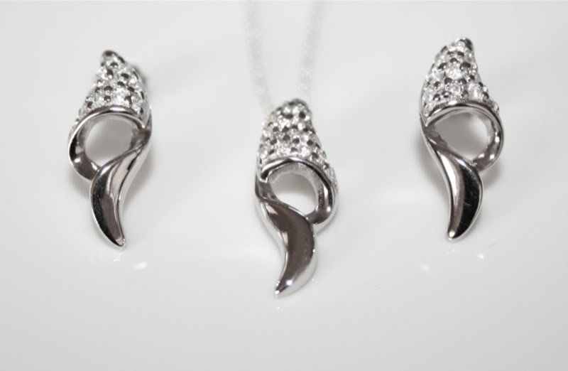 STERLING SILVER PAVE SET CZ PENDANT AND EARRING SET