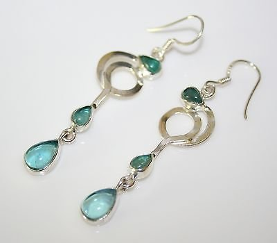 HANDCRAFTED ART DECO STYLE STERLING SILVER AND CABACHON APATITE DROP EARRINGS