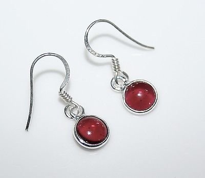 HANDCRAFTED STERLING SILVER 7MM GARNET SMALL ROUND DROP EARRINGS