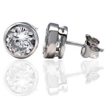 7MM 0.75CT STERLING SILVER CZ BEZEL SET SOLITAIRE EARRINGS