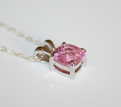 PRETTY STERLING SILVER 8MM FACETED PINK SAPPHIRE CZ PENDANT & CHAIN