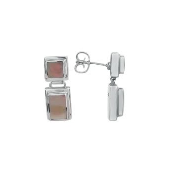 STERLING SILVER & MOTHER OF PEARL DROP EARRINGS