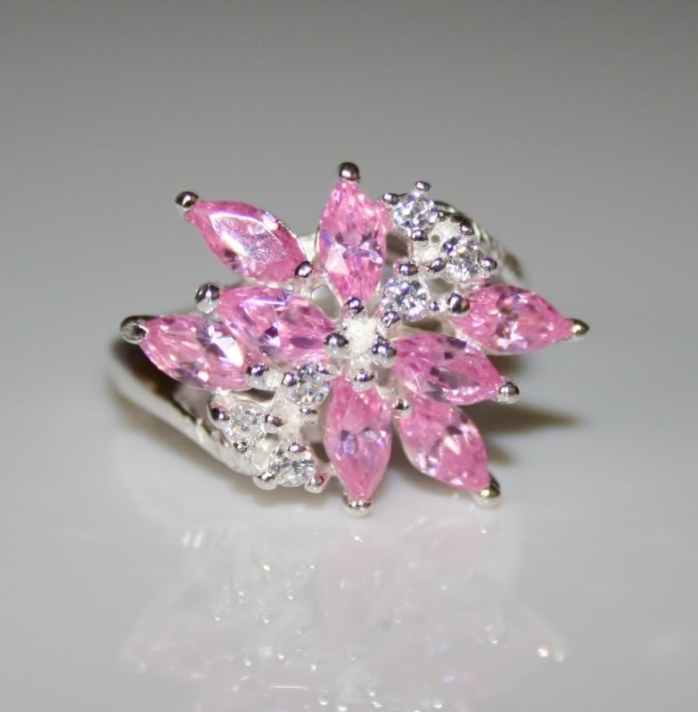 PRETTY STERLING SILVER MARQUISE CUT CZ RING SIZE L
