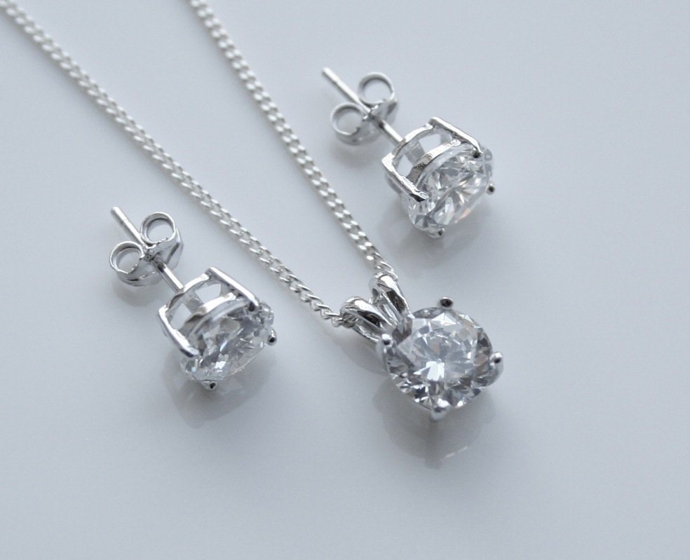 STERLING SILVER 7MM 3.75CT ROUND CUT CZ EARRING AND PENDANT SET + CHAIN