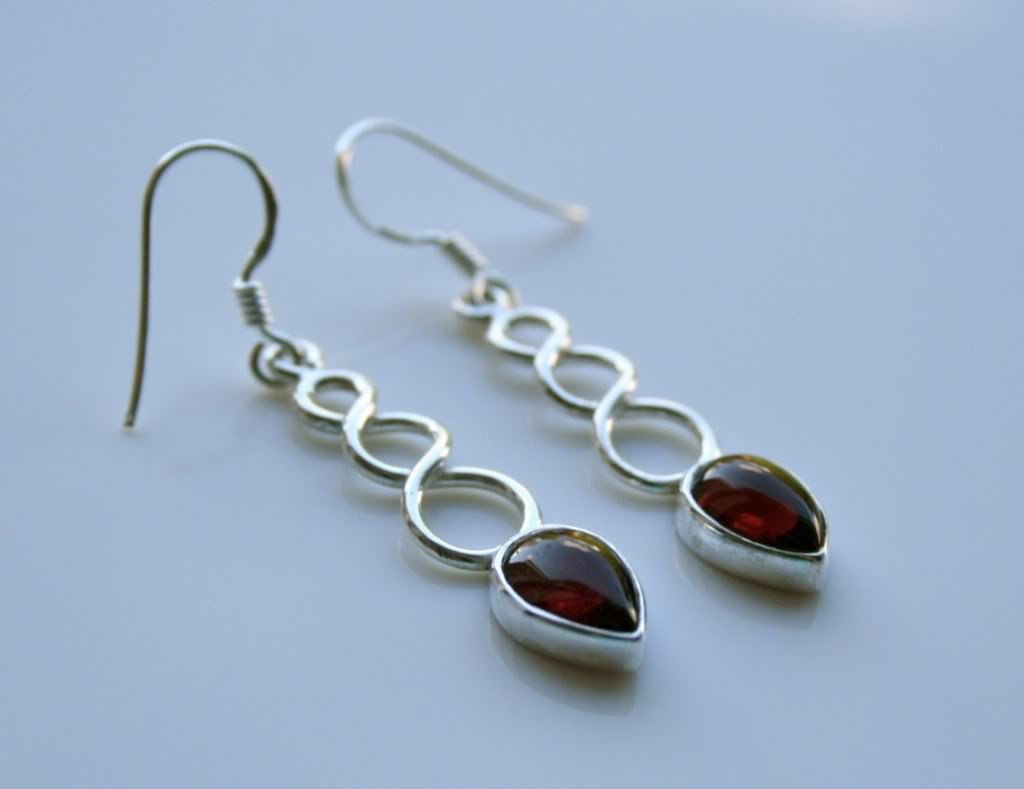 HANDCRAFTED STERLING SILVER CABACHON GARNET GEMSTONE DROP EARRINGS
