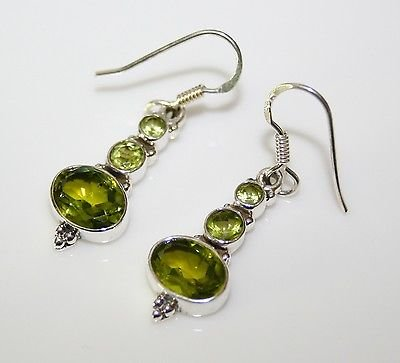 HANDCRAFTED STERLING SILVER  FACETED PERIDOT GEMSTONE DROP EARRINGS