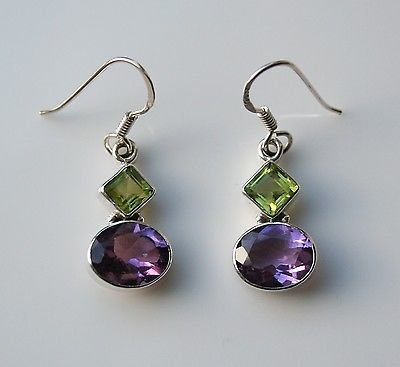 HANDCRAFTED STERLING SILVER  FACETED PERIDOT & AMETHYST GEMSTONE DROP EARRINGS