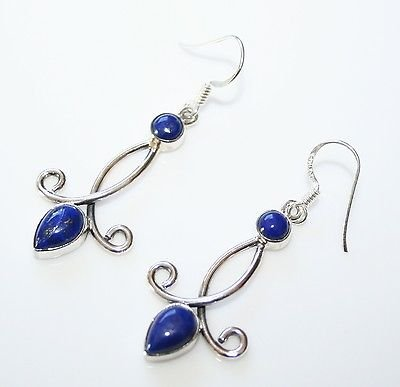 HANDCRAFTED STERLING SILVER AND CABOCHON LAPIZ DROP GEMSTONE EARRINGS