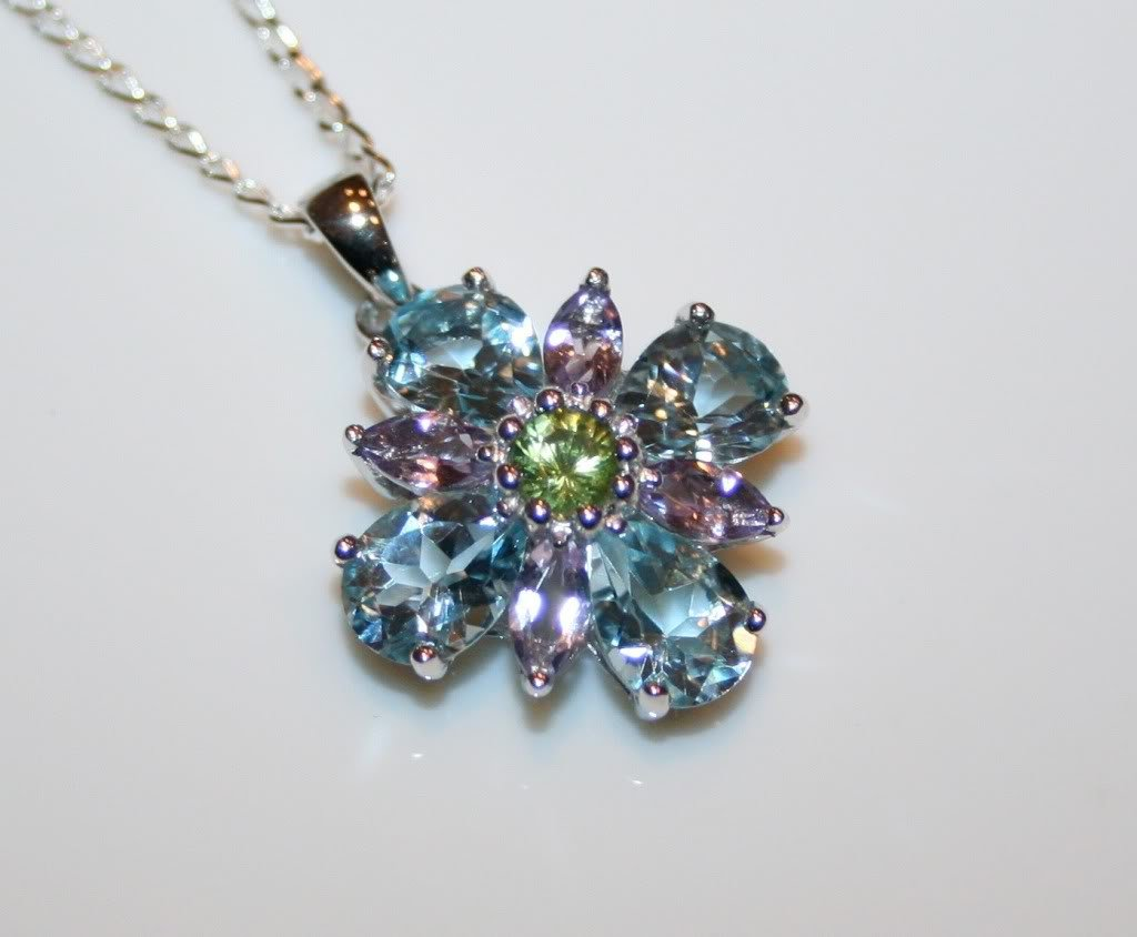 STERLING SILVER FACETED BLUE TOPAZ, AMETHYST & PERIDOT GEMSTONE PENDANT & CHAIN
