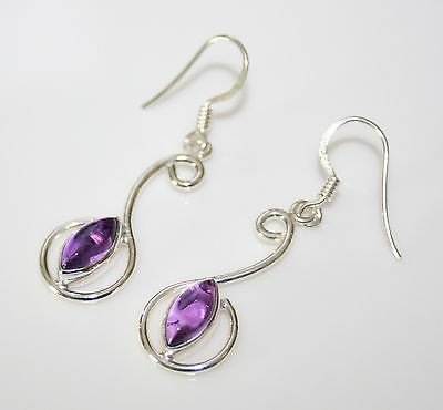 HANDCRAFTED PRETTY STERLING SILVER AMETHYST DROP EARRINGS