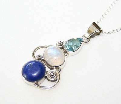 HANDCRAFTED STERLING SILVER LAPIZ, MOONSTONE & BLUE TOPAZ PENDANT & CHAIN