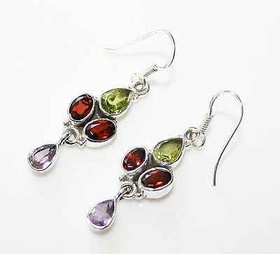HANDCRAFTED STERLING SILVER GARNET, PERIDOT & AMETHYST GEMSTONE DROP EARRINGS