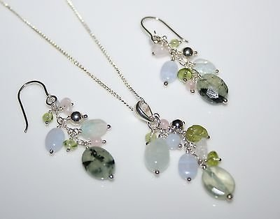 PRETTY STERLING SILVER MIXED GEMSTONE DROP EARRINGS, PENDANT AND CHAIN