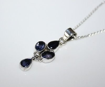 HANDCRAFTED STERLING SILVER  FACETED IOLITE GEMSTONE PENDANT & CHAIN