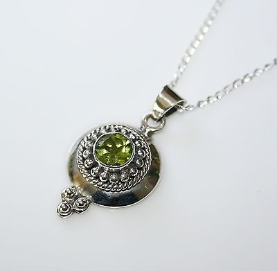 HANDCRAFTED STERLING SILVER FACETED PERIDOT PENDANT & CHAIN