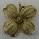 Vintage Costume Fashion Gold Plated 4 Petal Flower Double Stem Pin Brooch