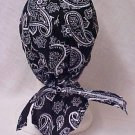 Chemo Head Cover Hat Black Paisley Durag Cap 100% Cotton One Size New