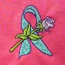 Ovarian Cancer Awareness Teal Ribbon Rose Hot Pink S/S T-Shirt 3X Unisex New