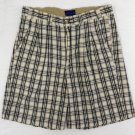 Blue Marine Black White Plaid Pleated Front Cotton Casual Mens Shorts 32