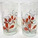 Vintage 2pc Retro Black Red Swanky Swigs Libbey Libby Juice Glasses Collectible