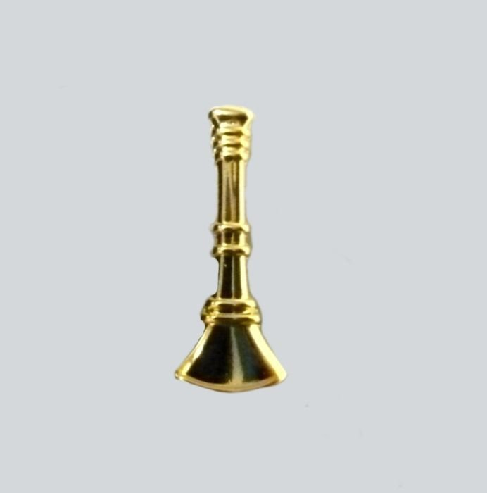 "Lt. Fire Dept. Bugles Collar Pin Device Set Rank 3/4"" Single Bugle Gold New"