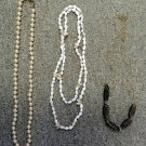 Pearl Sea Shell Gold Charm Stretch Chain Necklace Lot of 3 Costume Fashion