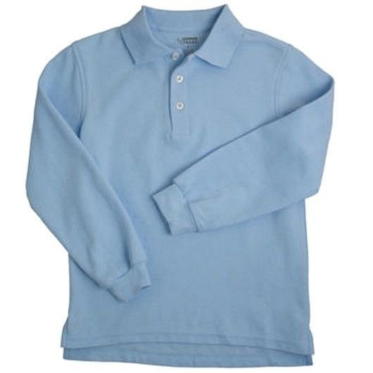 Light Blue Long Sleeve Polo Shirt 20 Unisex French Toast School Uniforms New